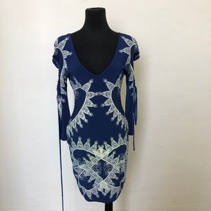 Blue and Yellow Printed Fitted Dress